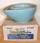 NIB Fire King Swedish Modern Teardrop Turquoise Blue 4 Nesting Mixing Bowl Set