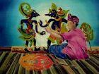New 11x15 Signed Native Malaysian Puppet Show BATIK PAINTING ON SILK