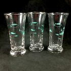 Set of 3 Libbey Mid Century Modern Atomic Fish Shot Glasses Abstract Turquoise