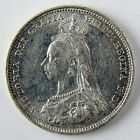 1887 Great Britain Victoria Shilling Silver Extra Fine+ Details Cleaned A2673