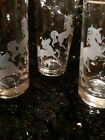 Mid-century Drinking Glasses Horses Gold Leaves Set Of 5