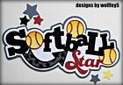 CRAFTECAFE SOFTBALL TITLE paper piecing premade scrapbook page die cut WOLFFEY5