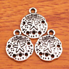 50 Pieces 1612mm Charms Round Starfish Jewelry Making Bracelet Silver 7522B