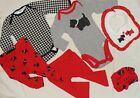 Lot of 6 Pc Baby Girl Red  Black  Scottie Dog Mix and Match Sz 0 3 mo Clothes