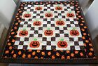 Halloween Hand Appliqued  Hand Quilted 37 x 37 Jacks  Nine Patch Squares