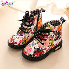 Girls Floral Kids Shoes Baby Fashion Lace Up Martin Casual Boots Children Boots