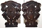 CARVED WOOD PANEL SCULPTURE ANTIQUE FRENCH MATCHED PAIR FEMALE GRIFFIN CARVING a