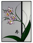 ORCHID ASIAN Hand Painted Glass Window 20x14 SUNCATCHER USA MADE Words LONG LIFE