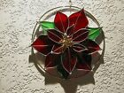 Large Christmas Poinsettia Stained Glass Window Hanger Suncatcher Handcrafted