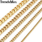 Mens Stainless Steel 3 5 7 9 11mm Gold Plated Curb Cuban Link Chain Necklace