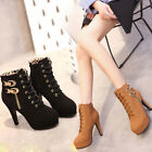 Winter Suede Women Lace Up Stiletto Heel Boot Platform Martin Ankle Boots Shoes