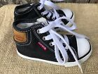 PAIR OF CHILDS SIZE 7 BLACK CANVAS LEVIS HIGH TOP SNEAKERS OR BASKETBALL SHOES