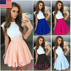 US Women Lace Short Sleeve Dress Cocktail Party Evening Formal Prom Dresses