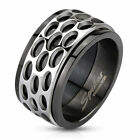 316L Stainless Steel Black Oval Patterned Spinner Band Mens Ring Size 9 13