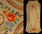 Vintage Arts Crafts Mission Era Oatmeal Linen Roses Embroidery Table Cloth Scarf