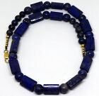 Chinese 14K Solid Gold and Natural Antique Lapis Lazuli Beads Necklace