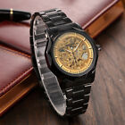 Luxury Mens Gold Skeleton Automatic Mechanical Stainless Steel Wrist Sport Watch