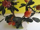 Vintage Antique Chinese Jade Quartz Bonsai Fruit Tree Hand Carved