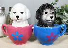 Aldorable Maltese Puppies in Tea Cup Salt and Pepper Shaker Set Cute Dog Puppy