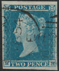 1841 SG14 2d BLUE PLATE 4 LATE USE SCARCE DUPLEX CANCELLATION VERY FINE USED MH
