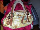 Fossil Green Floral Vintage Style Leather Trimmed Canvas w Large Fob Purse Bag