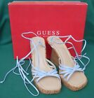 GUESS BY MARCIANO BLUE LEATHER HAVEN STRAP PLATFORM WEDGE CORK HEEL SIZE 7 NIB