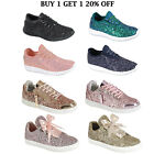 New Women Sequin Glitter Sneakers Lightweight Walking Athletic Lace Up Shoes