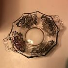 Vintage Clear Glass Candy Dish With Floral Sterling Silver Overlay 7.5