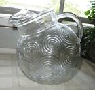Vintage Fire-King Target Line Tilt 80 Oz Crystal Ball Pitcher Anchor Hocking