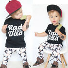 Fashion Toddler Baby Kids Boy Letter Printed Tops Shirt Pants Outfit Set Clothes