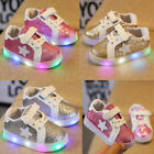 Kids Toddler Baby Boy Girl LED Lighted Crib Shoes Leather Sneakers Soft Trainers