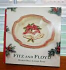 NOS 2001 FITZ & FLOYD Holiday Bells Canape Plate Raised Design, 9