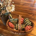 New Homespun Plaid Ornies Bowl Fillers Rag PrImITive Hearts Red Green Christmas