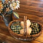 New Homespun Plaid Ornies Bowl Fillers Rag PrImITive Hearts Hunter Green Tan