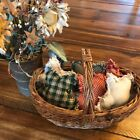 New Homespun Plaid Ornies Bowl Fillers Rag PrImITive Stars Red Green Christmas