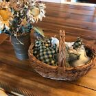 New Homespun Plaid Ornies Bowl Fillers Rag PrImITive Stars Green Christmas