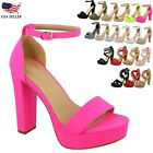 New Womens Fashion Platform Chunky Block High Heel Sandals Party Dress Shoes