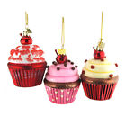 Glass Cupcake Christmas Ornaments 4 Inch 3 Piece