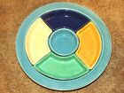 BEAUTIFUL VINTAGE ORIG. FIESTA RELISH TRAY WITH TURQUOISE TRAY NICE INSERTS !!