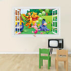 3D Window Winnie the Pooh Nursery Room Wall Decal Decor Stickers For Kids Baby