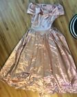 Vintage 50s Dress Peach Satin  Prom Party Formal Gown Size M