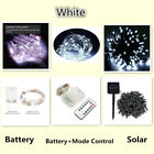 50 100 200 LED Xmas Party Solar Electric Powered Battery Fairy String Lights