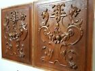 HAND CARVED WOOD PANEL MATCHED PAIR ANTIQUE GRIFFIN ARCHITECTURAL PANELLING