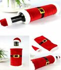 Xmas Dinner Party Table Decor Red Merry Christmas Santa Wine Bottle Bag Cover