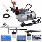 3 Airbrush Compressor Dual action Spray Complete Tattoo Nail Art Air Brush Set
