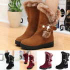 Fashion Women Boots Slip On Soft Snow Boots Round Toe Flat Winter Fur Ankle Boot