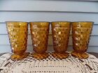 Set of 4 Vintage Indiana Amber Glasses Whitehall Cubist Footed Drinking Tumblers