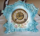Antique Porcelain Case Clock Gilbert Open Escapement Light Blue With Floral