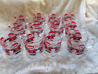 10 Vintage LUMINARC Clear Glass w/ Santa Christmas Mugs Holiday Cups ~FREE SHIP~