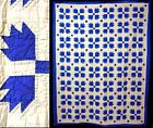 Antique Vintage Hand Stitched Blue White Flying Geese Quilt Bed Spread Coverlet